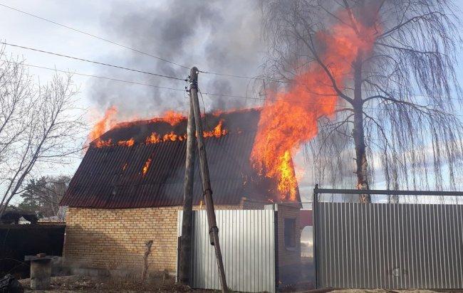 Пожар в «Строителе-1» попал на видео