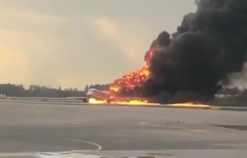 Самолёт загорелся во время полёта?