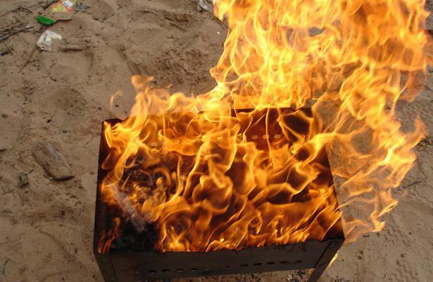 На мужчине загорелась одежда