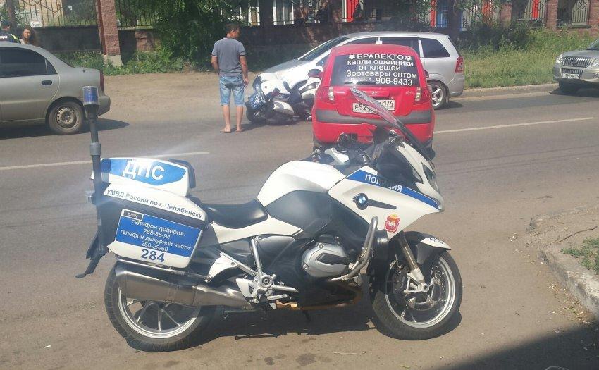 Сбили патрульный мотоцикл