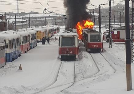 Выгорели два трамвая
