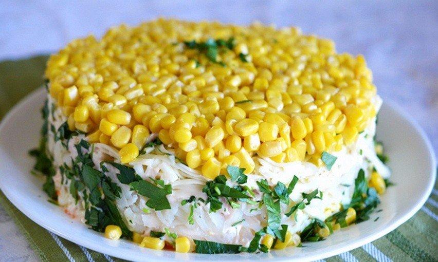 Салаты с курицей кукурузой и грибами рецепты с